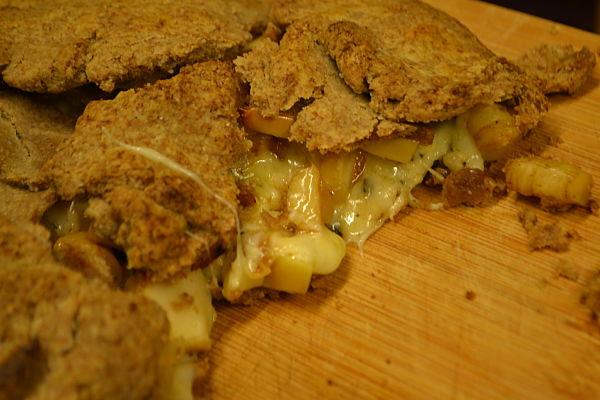 Skirret, apple and cheese tart