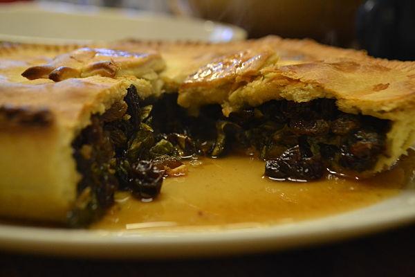 Sorrel and raisin pie