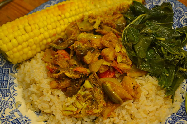 Vegetable curry with globe artichoke hearts