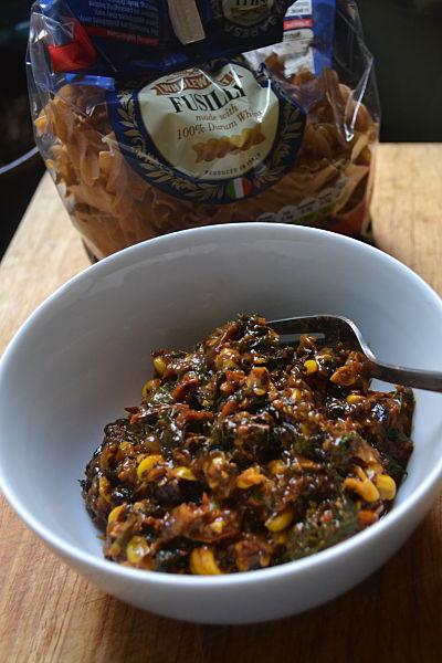 Roast corn, tomato and Good King Henry pasta sauce