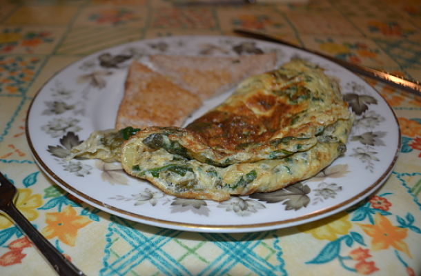Sorrel and spinach omelette